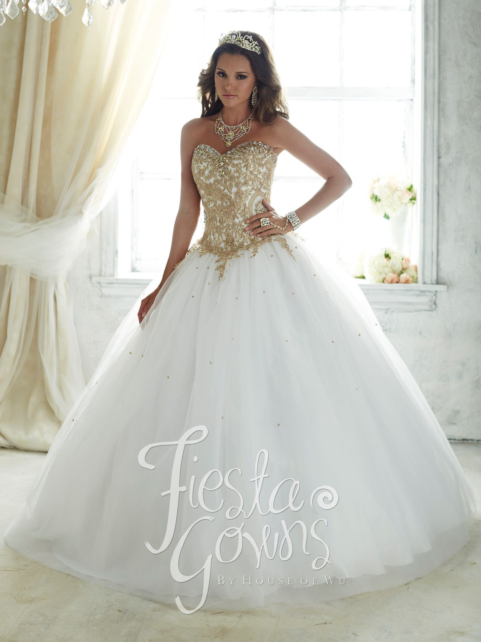 Gold beaded strapless dress by house of wu fiesta gowns style