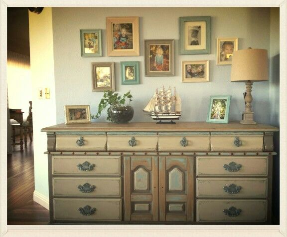 Upgraded  old dresser, some painted frames, and - beautiful result !