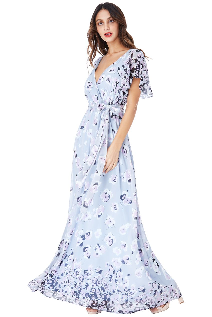 FLORAL PRINT CHIFFON MAXI DRESS WITH BUTTERFLY SLEEVES