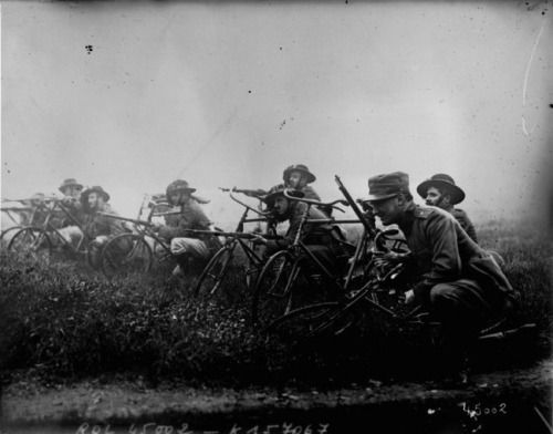 Italian Bersaglieri bicycle troops.