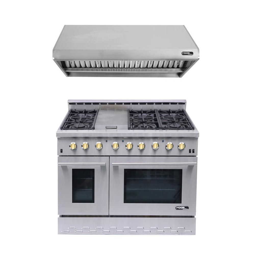 Nxr Entree Bundle 48 In 7 2 Cu Ft Pro Style Liquid Propane Range Convection Oven Range Hood In Stainless Steel And Gold Nk4811bdlp G The Home Depot In 2021 Range Hood Oven Range