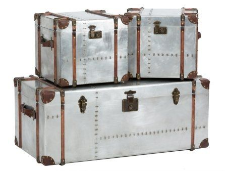 Superb Storage Chests In Aged Silver Metal