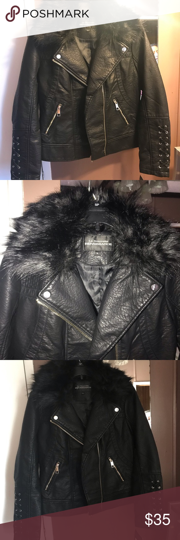 725343aea150 Leather jacket Black new jacket Fur can be removed Jackets & Coats. Visit.  March 2019