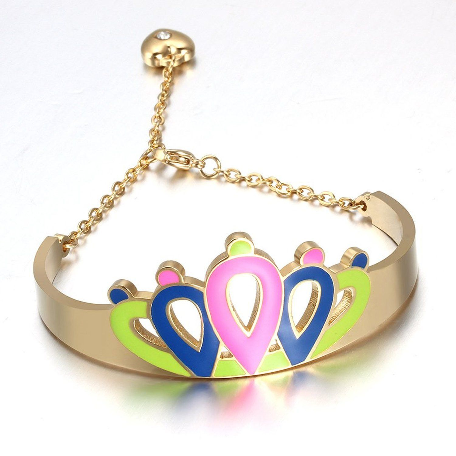 Jewelry girlus stainless steel lovely tri color princess crown link