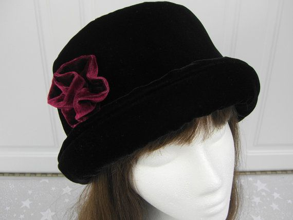 a7a162f83ad Rich Black VELVET Hat with burgundy velvet rose