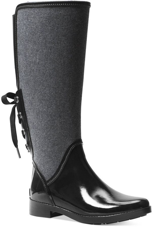 5a2c259aa MICHAEL Michael Kors Larson Back-Tie Rain Boots - MICHAEL Michael Kors   Larson rain boots merge soft flannel and a fetching laced back design that  updates ...