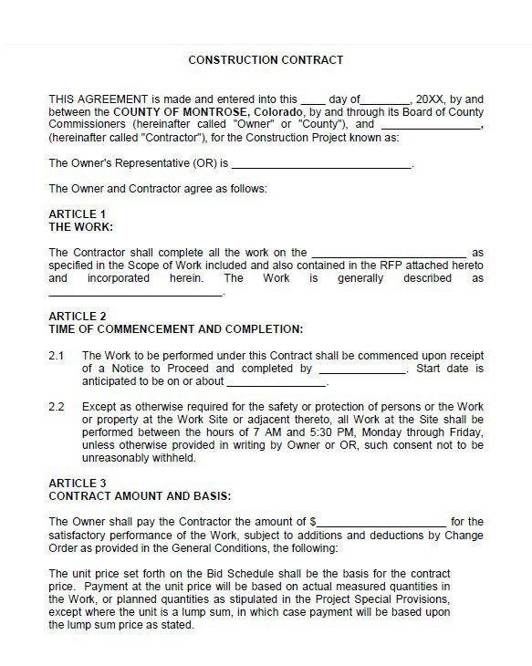 contract for construction work template new 40 great