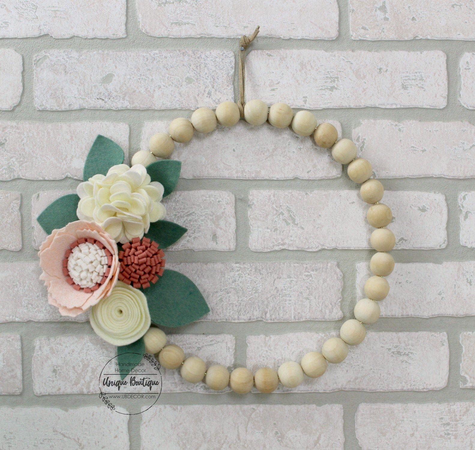 "Photo of Felt Flower Wood Bead hoop Wreath, 10 ""Spring Felt Flowers decor, Dusty rose, Blush Pink, Ivory flowers, Floral wall decor, door hanger"