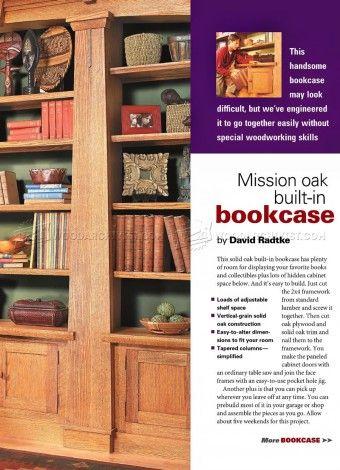 #18 Mission Oak Built-In Bookcase Plans - Furniture Plans