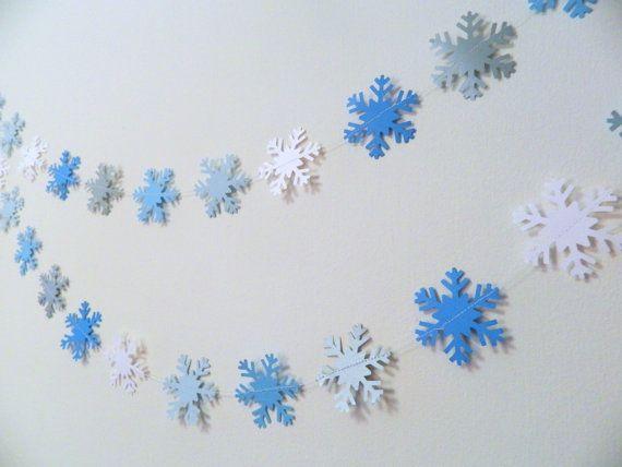 Snowflake Garland- Winter Onederland Decor- 6ft paper Snowflake - frozen halloween decorations