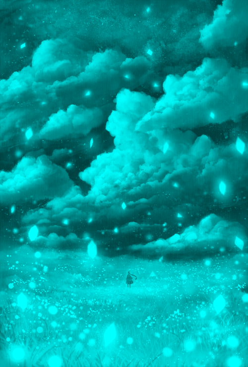 Noche De Nubes Y Estrellas Cyan Green Aesthetic Tumblr Blue Wallpaper Iphone Mint Green Aesthetic