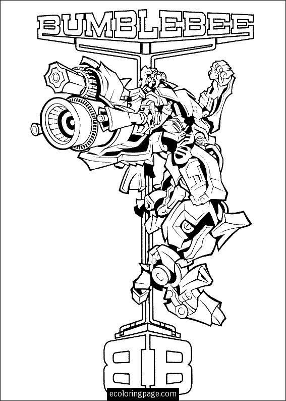 Yellow Transformer Bumblebee Printable Coloring Page Bee