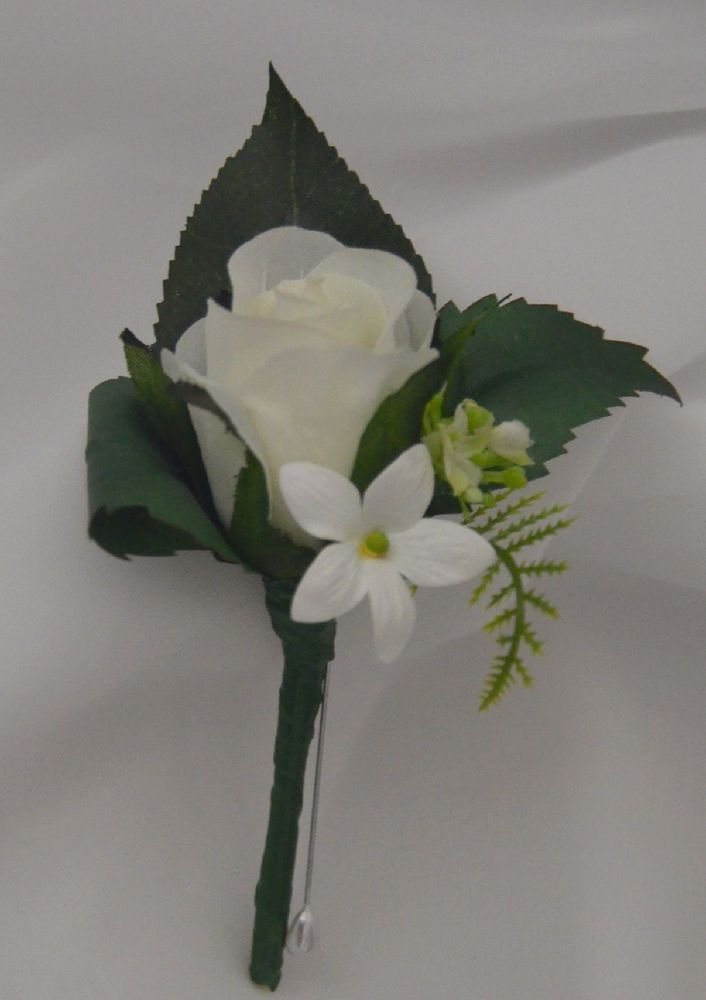 Silk Wedding Flower Groom On Hole White Rose Flowers Roses Pin