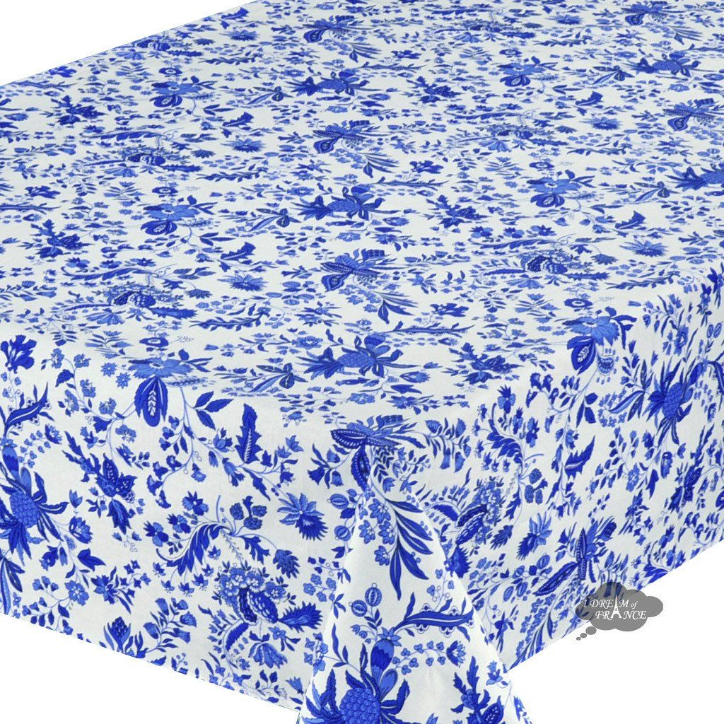 58x84 Rectangular Versailles Blue Cotton Coated Provence Tablecloth Close Up French Tablecloths Cotton Tablecloths Table Cloth