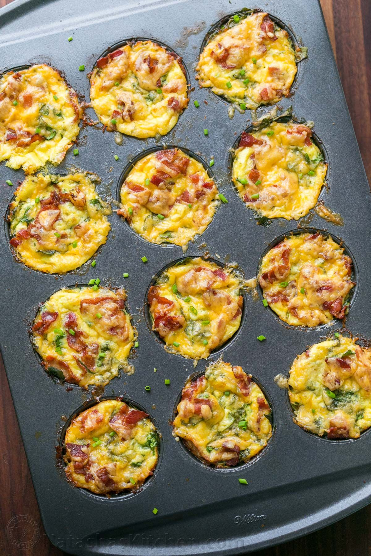 Breakfast egg muffins come together quickly. Loaded with potato, spinach, eggs, cheese and crisp ba