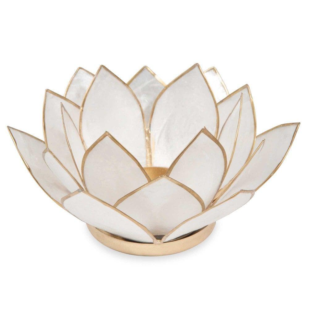 Candeliere madreperlato bianco in metallo | Maisons du Monde