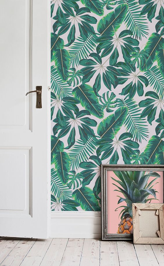 Mixed Tropical Leaves Wallpaper Emeralds, Leaves and