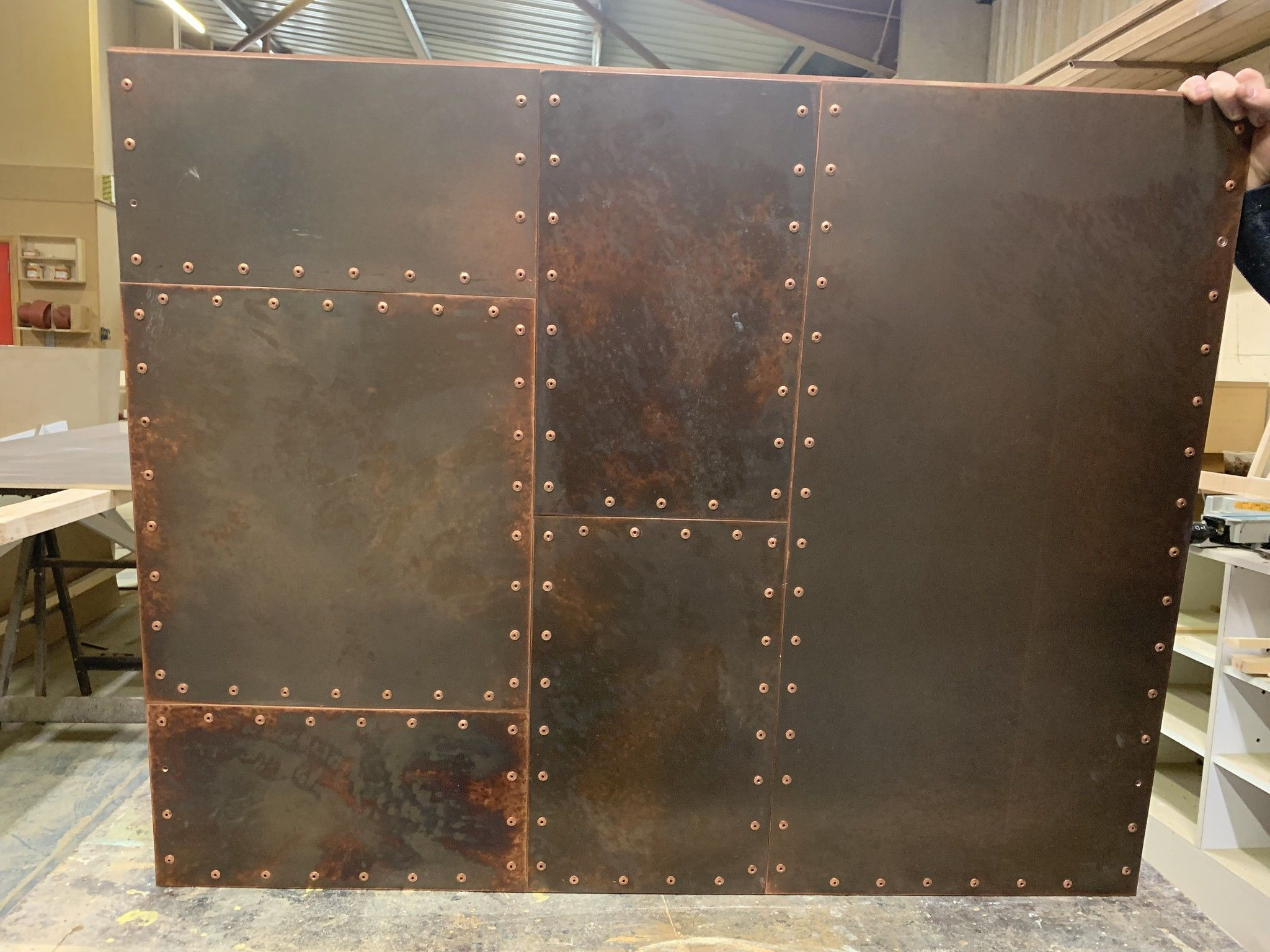 Riveted Aged Copper Panel Metal Wall Panel Sheet Metal Wall Metal Door