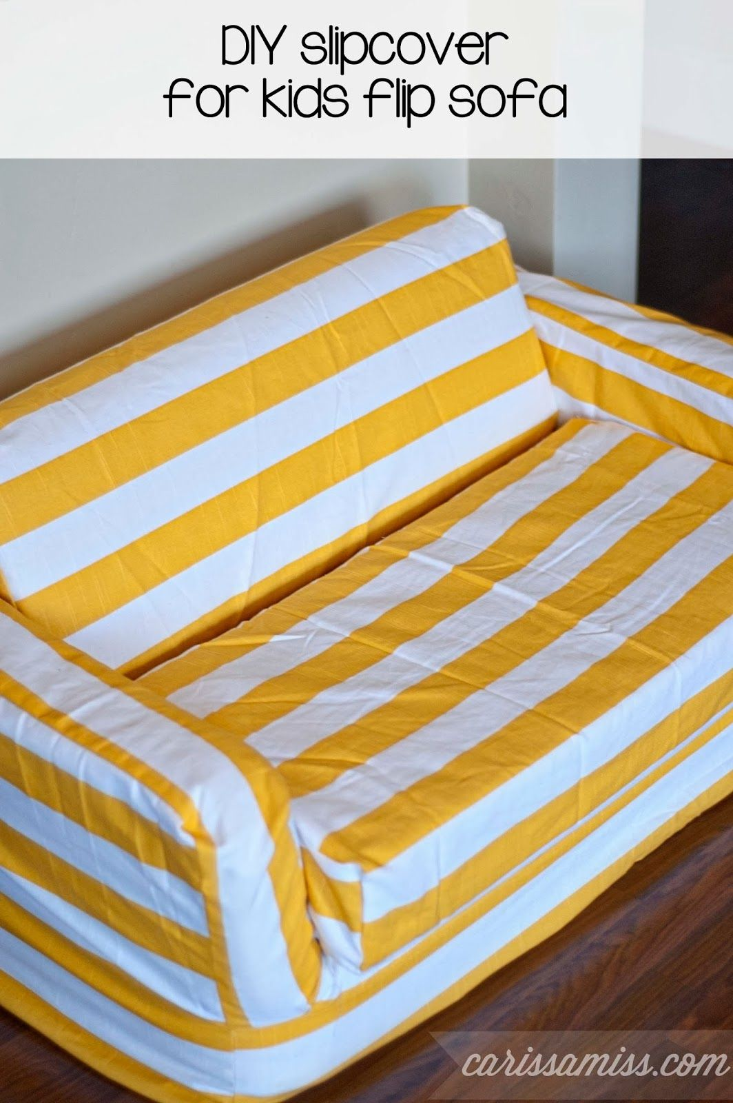 Diy Striped Slipcover For Kids Flip Sofa Diy Ideas Diy