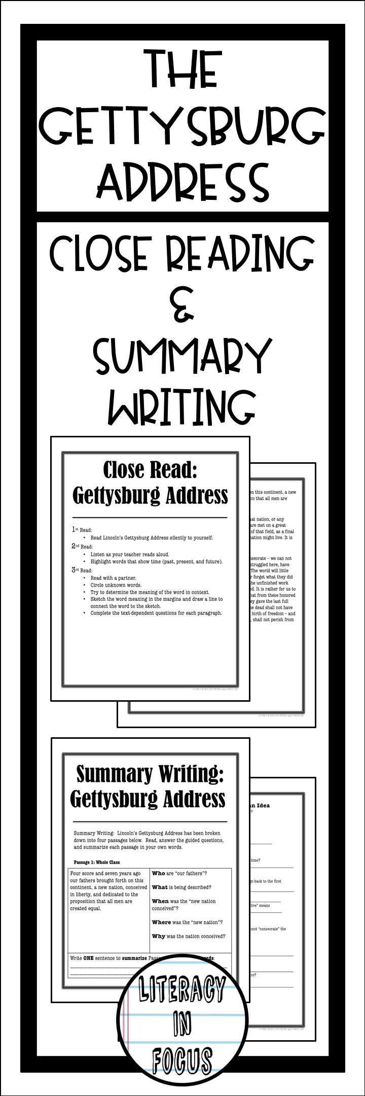 Worksheets Gettysburg Address Worksheet gettysburg address close read and summary writing pinterest lincolns reading lesson ensure student understanding of address