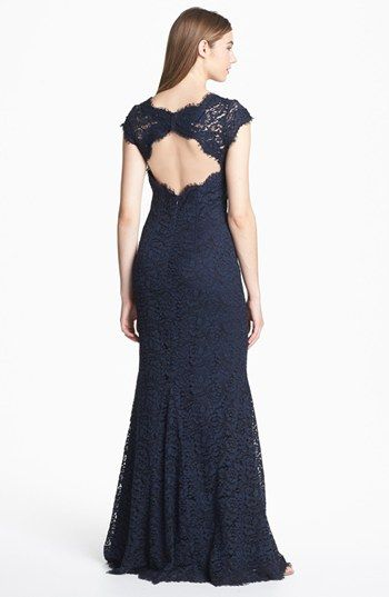 ML Monique Lhuillier Ribbon Trim Lace Gown | Nordstrom ...
