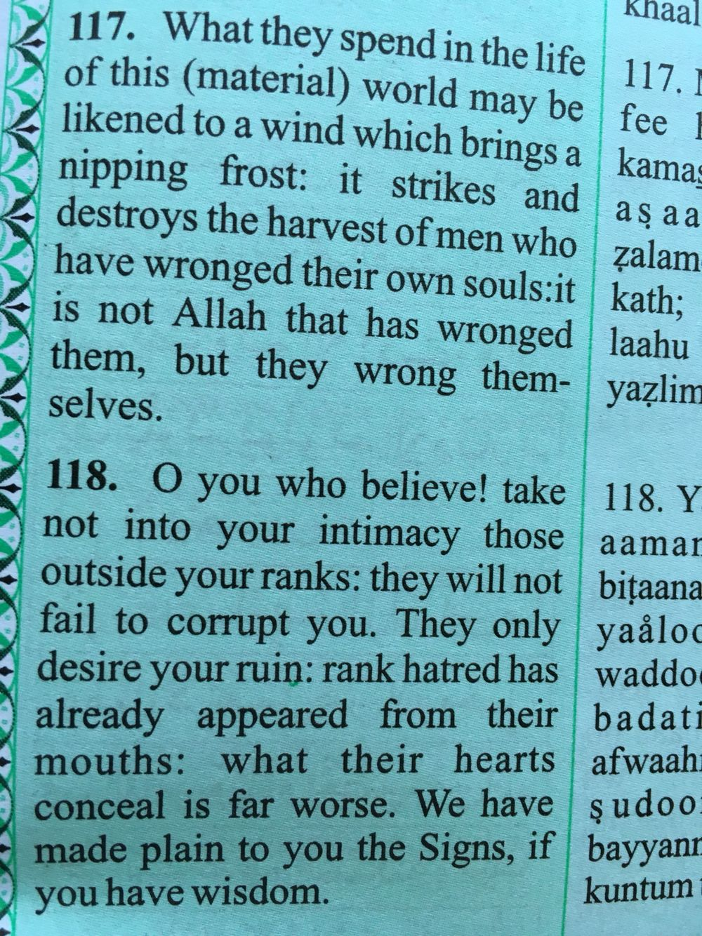 Surah Al-Imran 3: 117 & 118  - The Noble Qur'an   Beautiful verse from the Quran. So true Mashallah  The Quran is a beautiful book of guidance and truth.