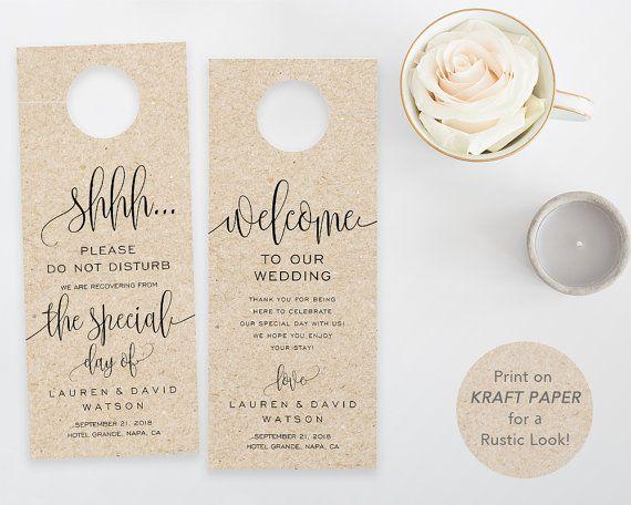Wedding Door Hanger, PrintableTemplate, Do Not Disturb Door Hanger
