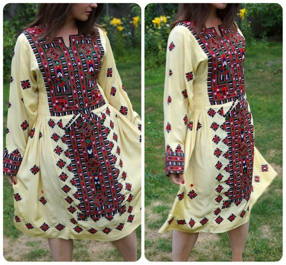 173beac5ea0 Vintage BALOCHI silk dress. Tribal hand stitched dress. Hand embroidery.  Dress from Pakistan.Afghan