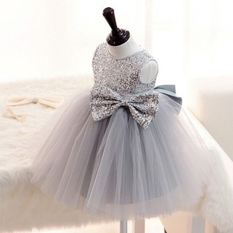 725d4a5f8 Silver Sequin Bow Ball Princess Baby Dress
