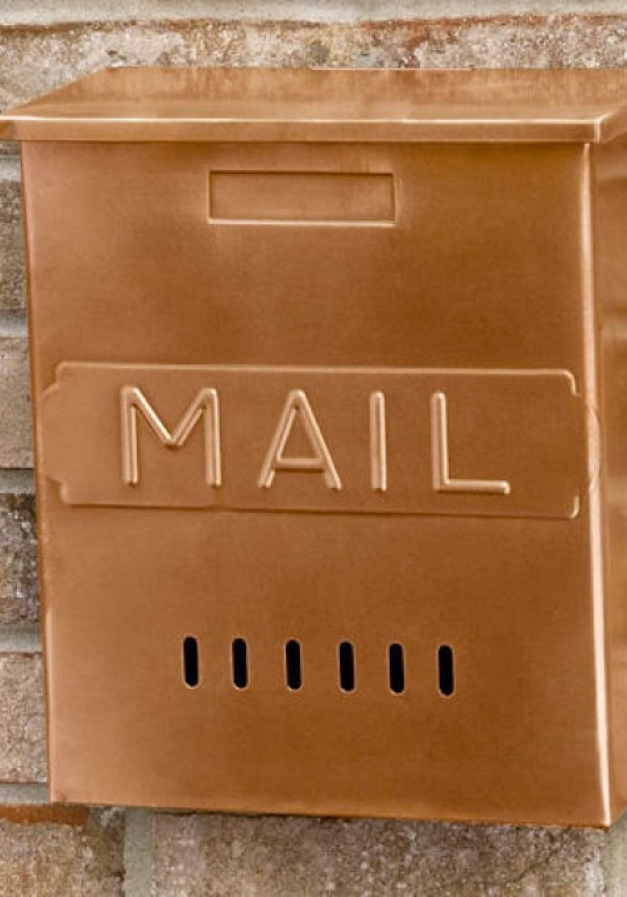 Vertical Mail Wall Mount Copper Mailbox Antique Copper Copper Mailbox Wall Mount Mailbox Mailbox