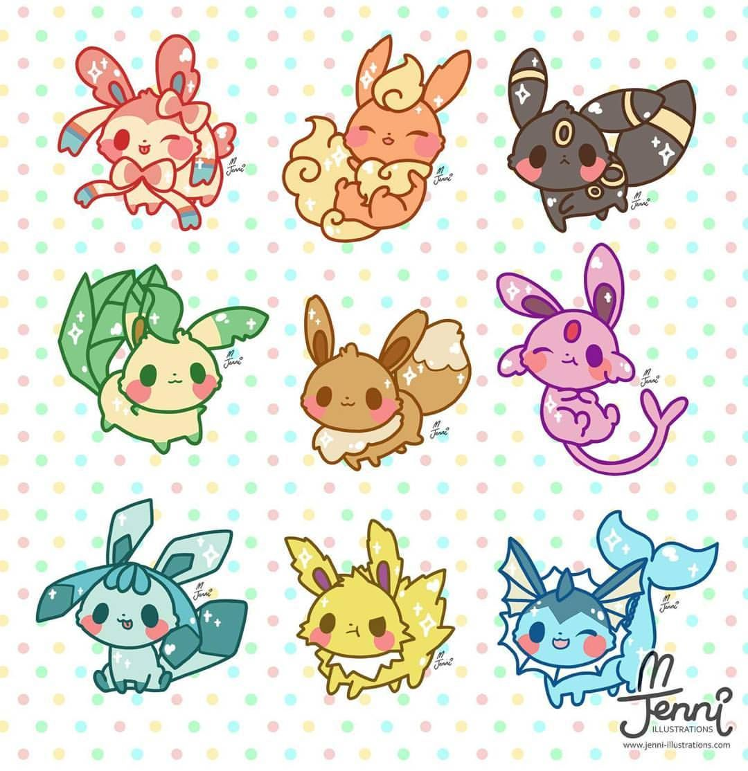 All my Eeveelutions are all done!!! ヾ(*´∀`*)ノ #chibi # ...