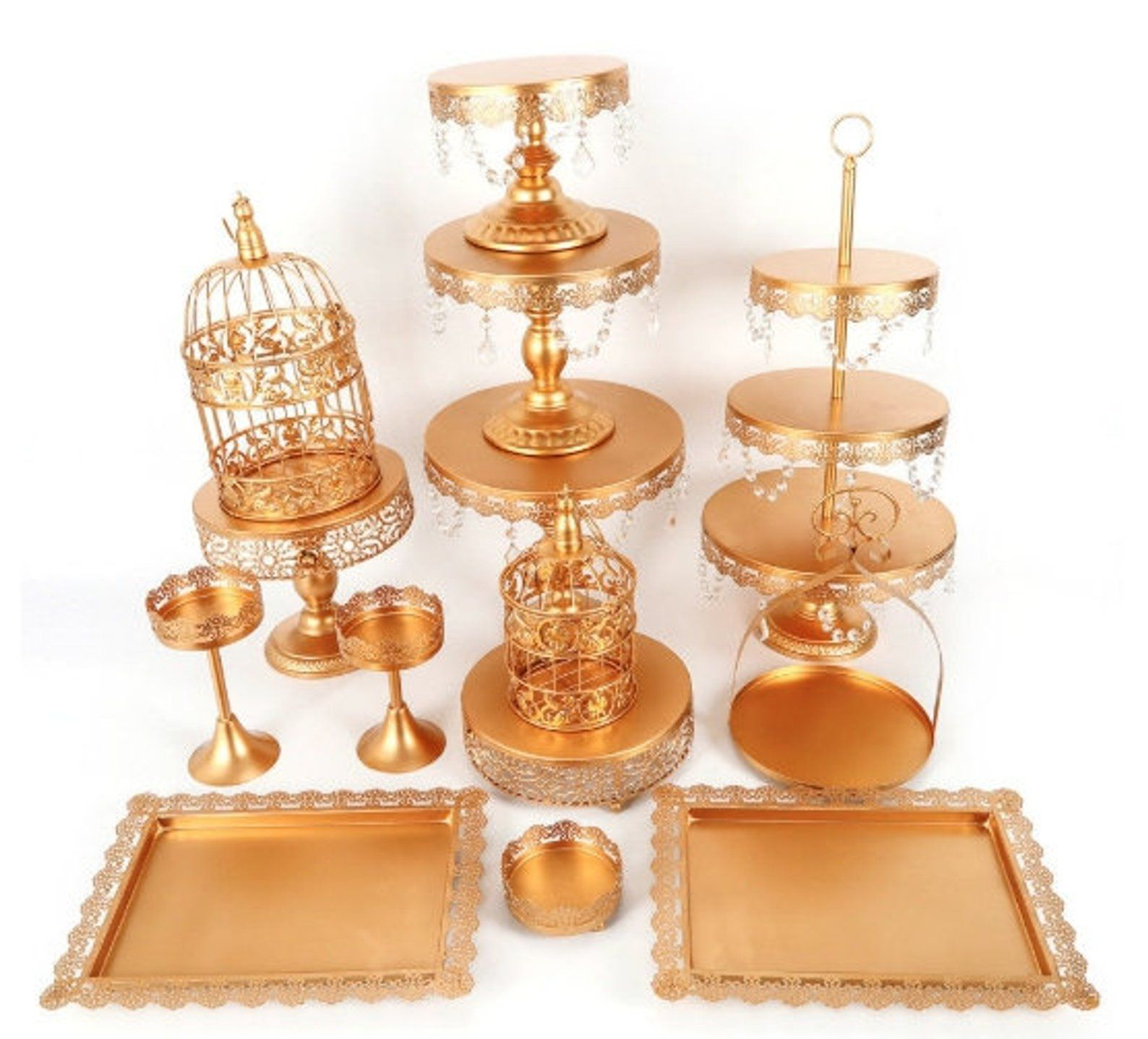 14 piece gold cakedessert rose stands trays etsy
