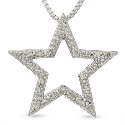 Star pendant with diamond accents in sterling silver view all star pendant with diamond accents in sterling silver view all necklaces zales aloadofball Gallery