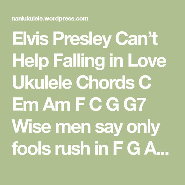 Elvis Presley Cant Help Falling In Love Ukulele Chords Music