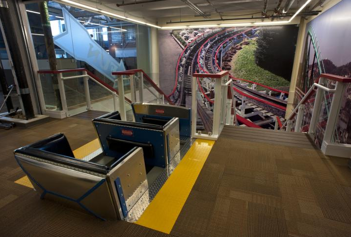 Inside The Google Pittsburgh Office Kennywoord Floor Complete With A Custom Made Thunderbolt Car And A Potato Patch Themed Ohio River Pittsburgh Monongahela