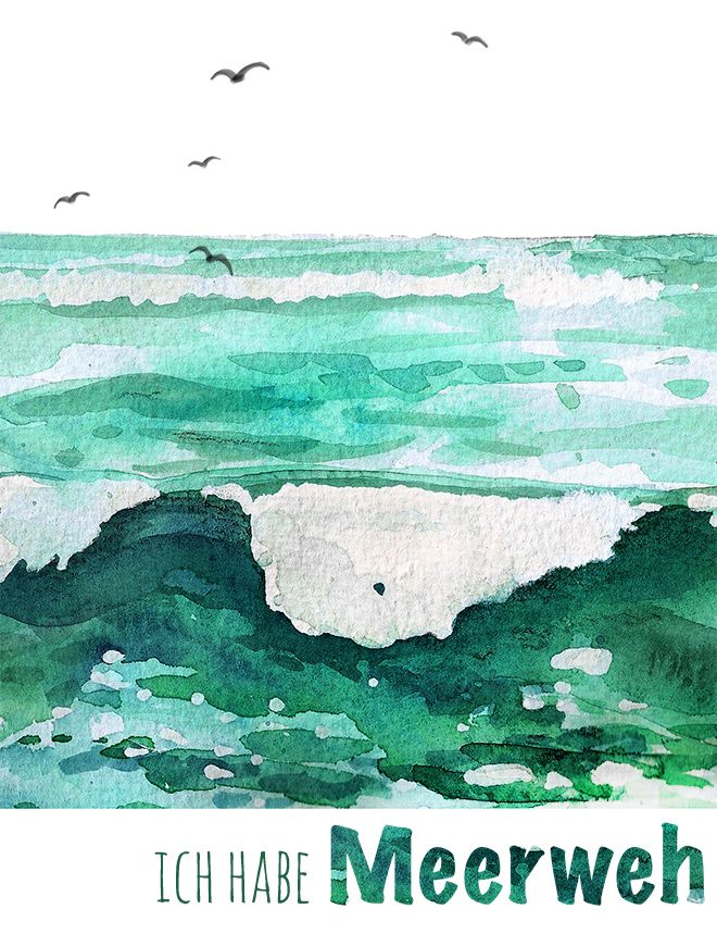 Meerweh Aquarell Lettering Aquarell Malen Aquarell Und