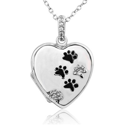 ASPCA® Tender Voices™ Diamond Accent Heart Locket with Paw Prints in Sterling Silver - Zales
