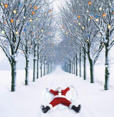 Alzheimers Society Santa Snow Angel Christmas card see