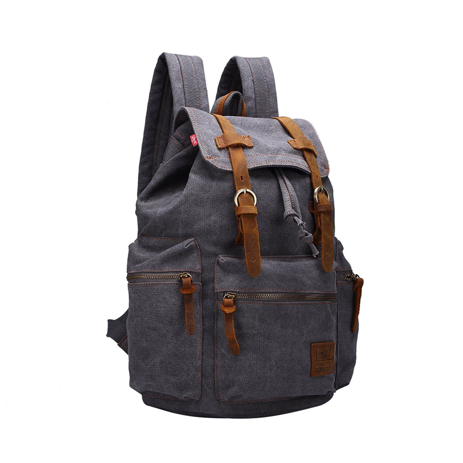 Domiray Vintage Canvas Backpack Outdoor Rucksack Schoolbag >> Details can be found  : Travel Backpack
