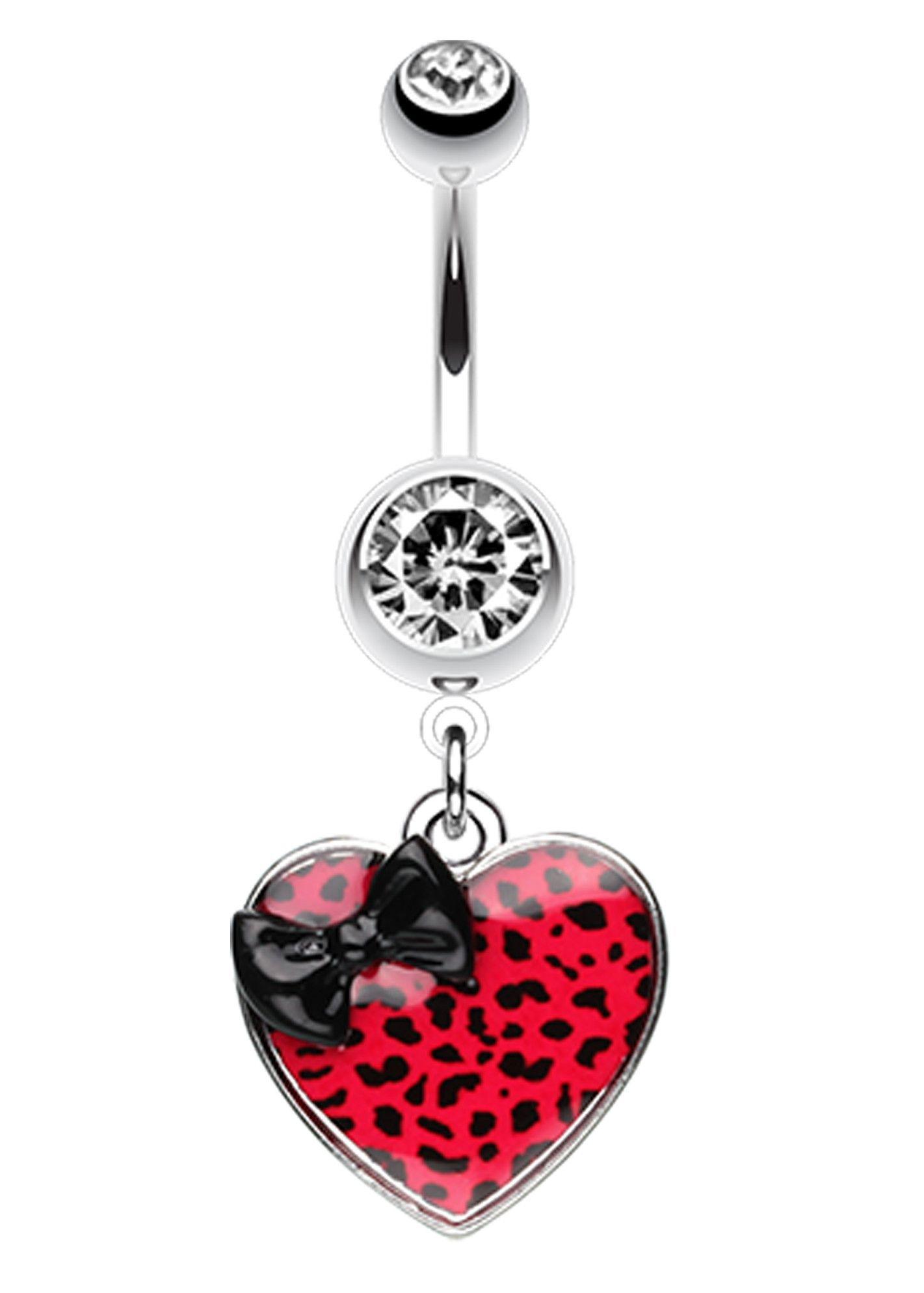 Navel piercing ideas  Leopard Pattern Heart Bow Belly Button Ring  Leopard pattern Belly