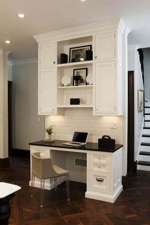 Fabulous Kitchen With Built In Desk Featuring White