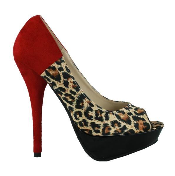 High heel leopard platform shoes