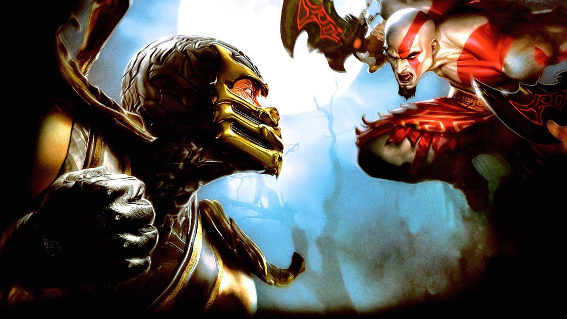 mortal kombat, scorpion , kratos, god of war wallpapers 1920×1200