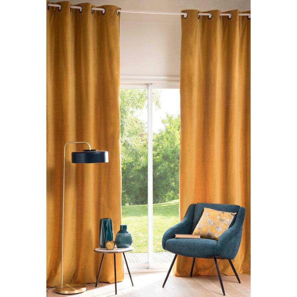 rideau en velours jaune moutarde 140x300 buanderie pinterest rideaux en velours maison du. Black Bedroom Furniture Sets. Home Design Ideas