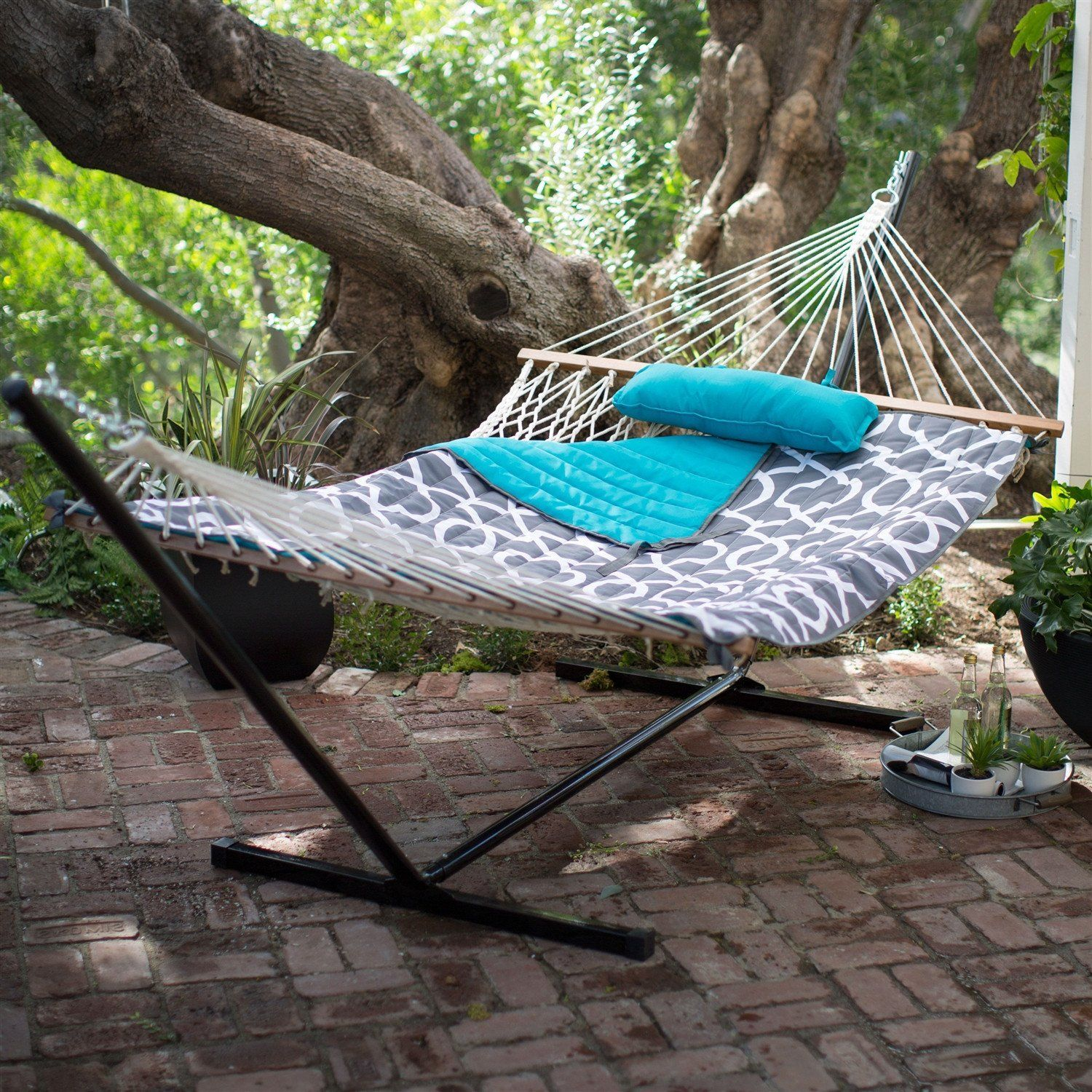 cotton rope 11 ft hammock with metal stand and aqua lattice pillow pad set cotton rope 11 ft hammock with metal stand and aqua lattice pillow      rh   pinterest