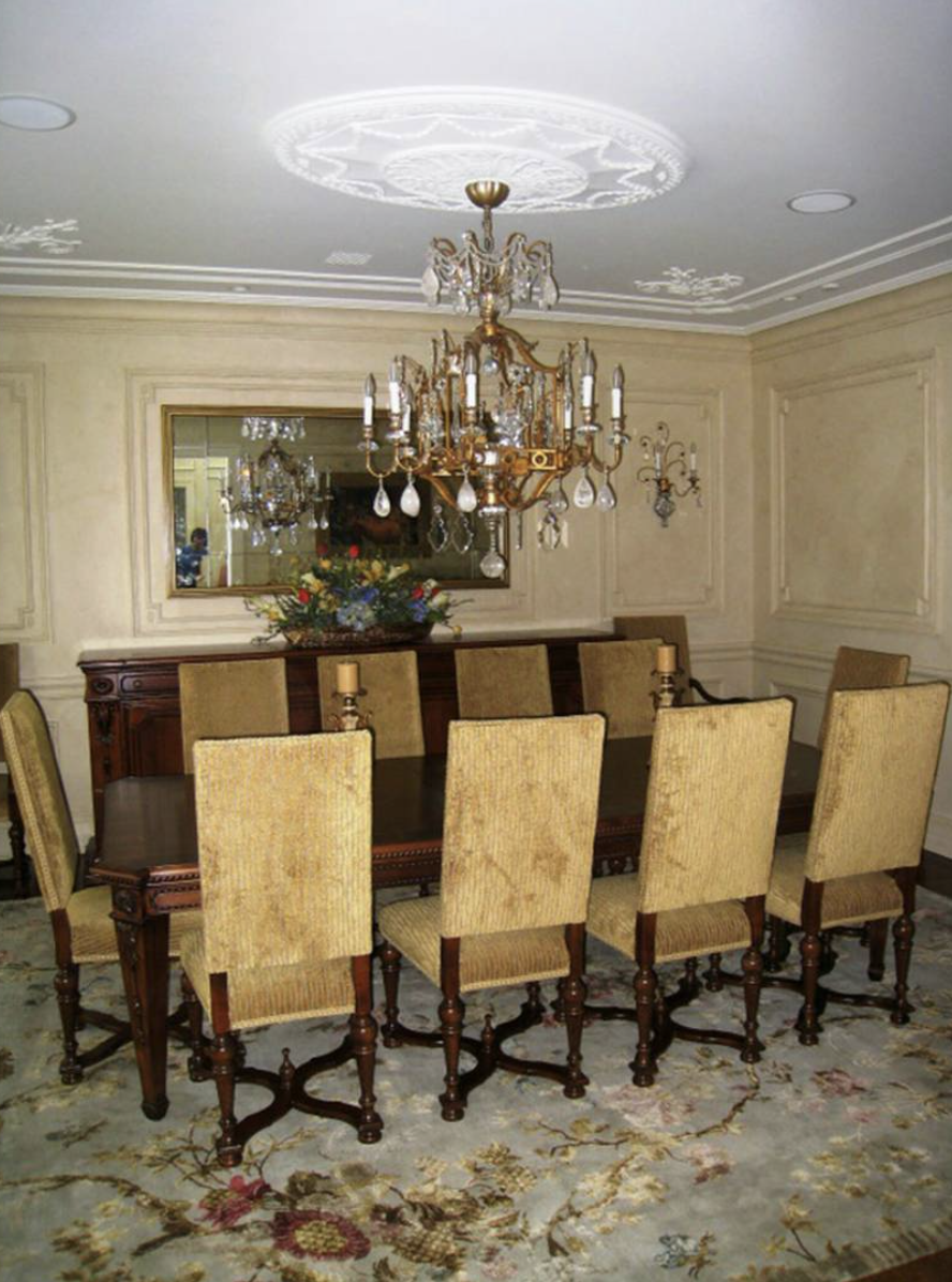 Traditional dining room with high back upholstered chairs for Traditional dining room pinterest