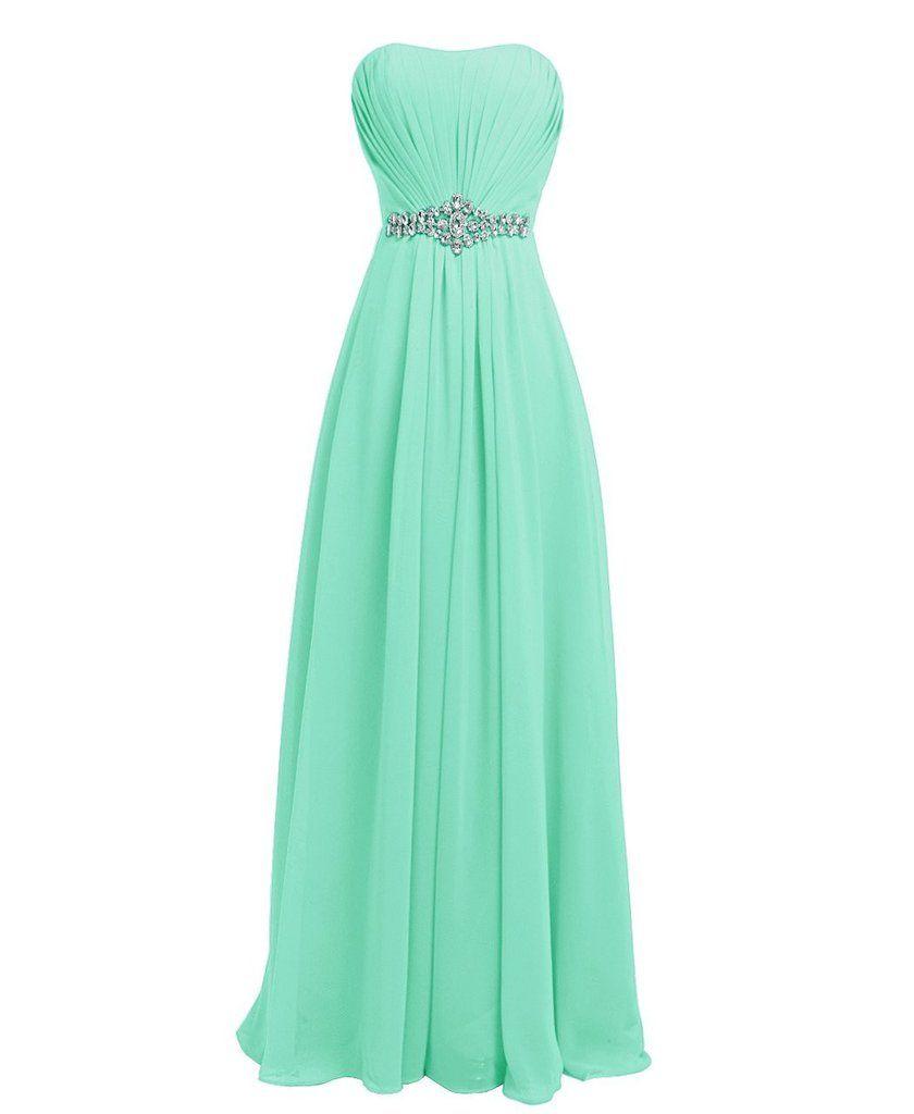 Classy mint aline prom dressesstrapless sleeveless prom dresses