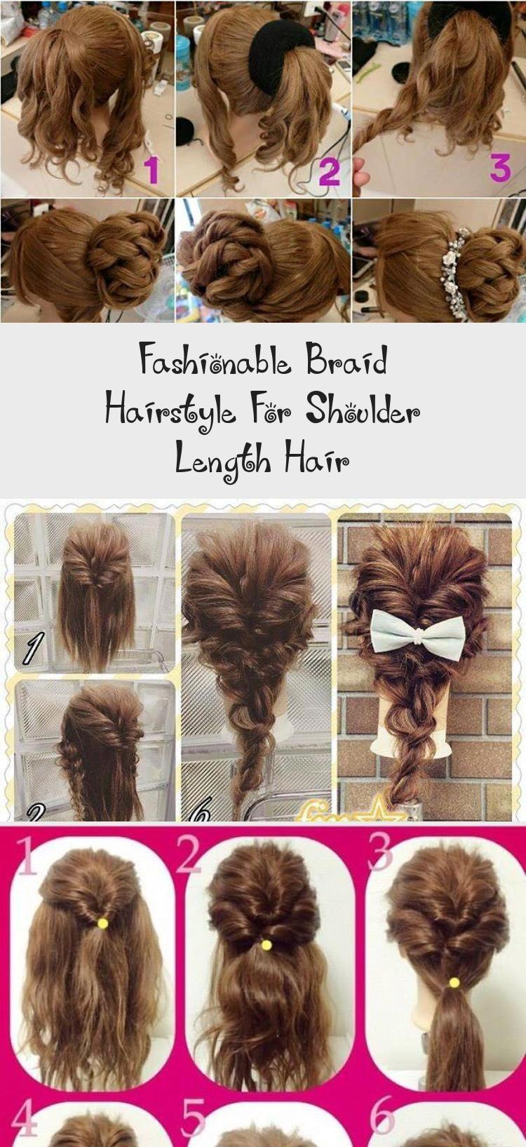 Fashionable Braid Hairstyle For Shoulder Length Hair Hairtutorialstepbystep Hairtutorialwithbangs Hairt In 2020 Shoulder Length Hair Braided Hairstyles Hair Lengths