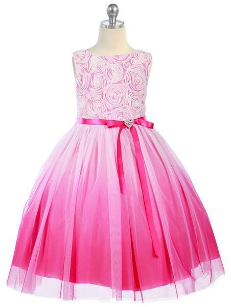 c2e17181d17 Fuchsia Pink Ombré Tulle Girls Dress with Rosette Bodice KD322 Pink Flower  Girl Dresses