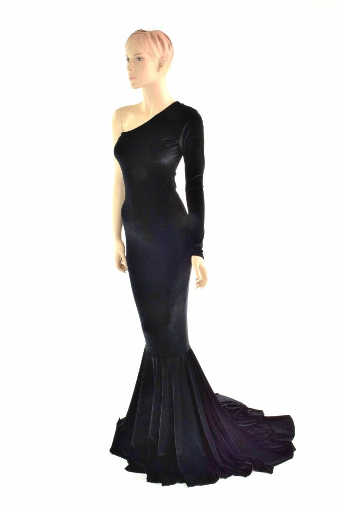 d0e806dfb35 Dramatic Black Stretch Velvet One Shoulder Gown with Puddle